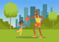 Father playing ball with his son in city park outside, family leisure vector illustration. Web banner Royalty Free Stock Image