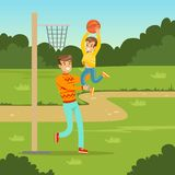 Father playing basketball with his son in city park. Happy young father playing basketball with his son in city park. Parents with kids. Man and kid cartoon royalty free illustration