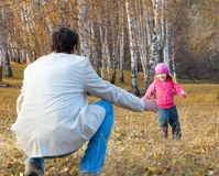 Family. Father playing with daughter. Stock Photo