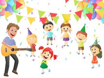 Father playing guitar for little girl's birthday Stock Photo