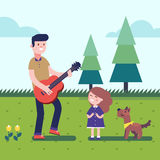 Father playing guitar to his daughter with a dog royalty free illustration