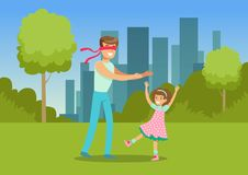 Father playing hide and seek with his daughter in city park outside, family leisure vector illustration. Web banner Royalty Free Stock Images