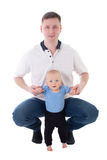 Father playing with his little son isolated on white Royalty Free Stock Images