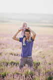Father playing with his son in a lavender field Royalty Free Stock Photography