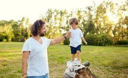 Father playing with his son in the park. Father`s Day Royalty Free Stock Image