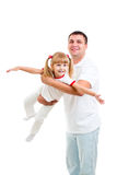 Father playing with kid daughter isolated on white Stock Photo