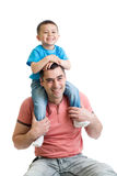 Father playing with kid son isolated on white Royalty Free Stock Images