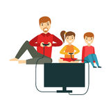 Father Playing Video Games With Kids, Happy Family Having Good Time Together Illustration Royalty Free Stock Images