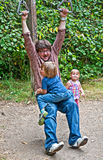 Father Playing with Young Kids Outdoors Royalty Free Stock Photos