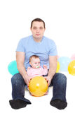Father plays with the eight-monthly daughte Royalty Free Stock Photo