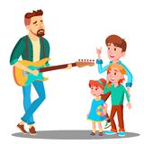 Father Plays The Guitar For Children Vector. Isolated Illustration royalty free illustration