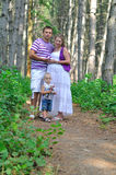 The father, pregnant mother and the child. Family with pregnant mother on a footpath in the pine wood Royalty Free Stock Photos