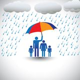 Father protecting family from rain with umbrella. Father protecting family from heavy rain with umbrella. The graphic represents father holding a colorful Stock Photos