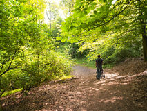 Father Pushing Baby Carriage Through Woods Royalty Free Stock Photo