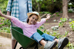Father pushing daughter in wheelbarrow Royalty Free Stock Images
