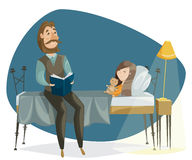 Father reading bedtime story to his daughter. Funny cartoon characters stock illustration