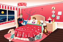Father reading a bedtime story to his daughter. A vector illustration of father reading a bedtime story to his daughter Royalty Free Stock Photos