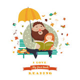Father reading a book to his daughter royalty free illustration