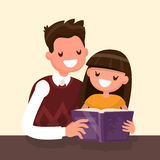 Father reading a book to his  daughter. Vector illustration Stock Photo