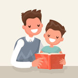 Father reading a book to his  son. Vector illustration Royalty Free Stock Images