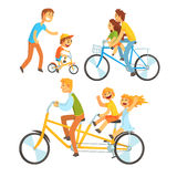 Father riding his children on a bicycle, set for label design. Father teaching his son to ride a bike. Colorful cartoon. Detailed Illustrations isolated on Royalty Free Stock Photography
