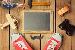 Father's day background with chalkboard and place for text. View from above. Royalty Free Stock Images
