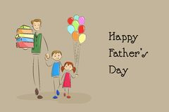 Father's Day Background with father and kids Royalty Free Stock Photography