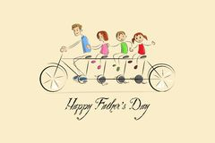 Father's Day Background with father and kids Stock Image