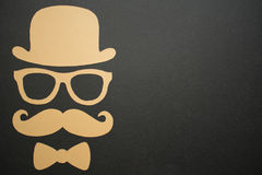 Father`s Day background - Man face cut out, gold on black Royalty Free Stock Photography