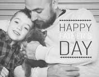 Father`s day background. Father and son portrait, father`s day concept, real family Royalty Free Stock Photography