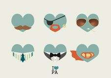 Father's day blue hearts. Vector illustration eps10 Stock Photography