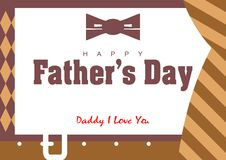 Father's Day Card. Illustration of father's day card with tie and belt stock illustration