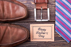 Father`s Day card and belt. stock photography