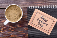Father`s Day card and coffee. Royalty Free Stock Image