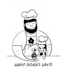 Father`s Day Card With Daughter And Dad Cooking Together. Royalty Free Stock Images