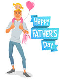 Father's Day card. Father carrying little daughter on shoulders. Vector illustration  on white background. Father's Day card. Smiling father carrying his young Stock Images
