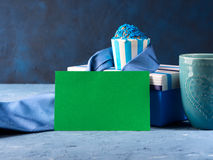 Father`s day card with gift box and cup cake, tie Stock Photo