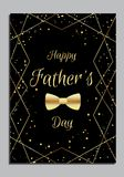 Father`s day card with golden bow tie. International Father`s Day. Men`s bow tie.Golden style Vector illustration royalty free illustration