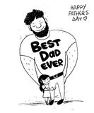 Father`s Day Card With Little Daughter Hugging Dad. Sketch funny illustration with cute little baby girl daughter hugging dad. Happy Father`s day greeting card Royalty Free Stock Images