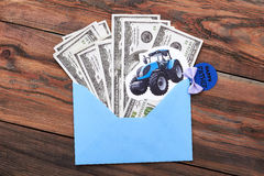 Father`s Day card and money. Royalty Free Stock Image