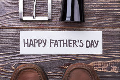 Father`s Day card near shoes. Stock Photography
