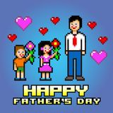 Father's day card - pixel art style layers vector. Illustration vector illustration