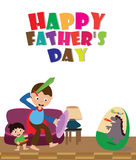 Father`s Day card. Father play as Hero with his son. EPS file available Royalty Free Stock Images