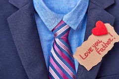Father`s Day card on suit. Stock Photos