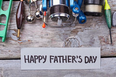 Father`s Day card and tackle. Royalty Free Stock Image