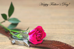 Father's Day Card: Watch and rose Stock Photo