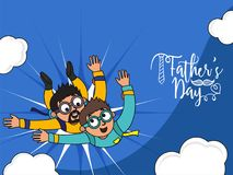Father`s Day celebration concept with father and son duo enjoy s. Kydiving on blue cloudy background vector illustration