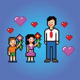 Father's day celebration - pixel art style vector Royalty Free Stock Photography