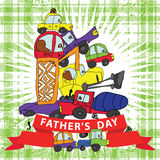 Father's day.Child's hand draw cars.Funny Doodle composition Stock Images