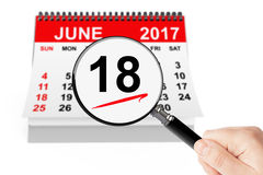 Father`s Day Concept. 18 june 2017 calendar with magnifier Stock Images